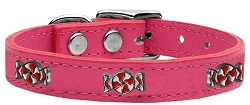 Peppermint Widget Genuine Leather Dog Collar Pink 18
